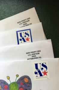 Envelopes with nonprofit stamps