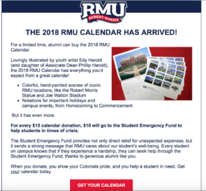 Email appeal #1 promoting RMU calendar