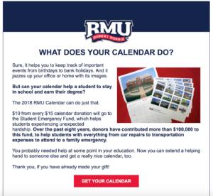 RMU Calendar Appeal #2